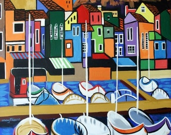 Peir One Print / Poster Cubism Buildings Boats Anthony Falbo