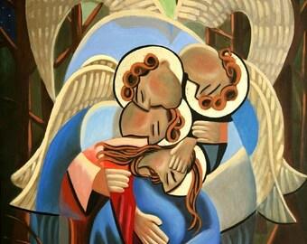 Gethsemane The Hour Is Near Print Jesus Angels God  Giclee Anthony Falbo