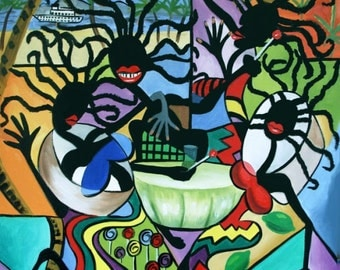 Ya Mon Poster / Print  Cubism Steel Drums Jamaican  Anthony Falbo