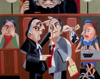 Order In The Court Judge Lawyer Courtroom Cubism Print / Poster Anthony Falbo