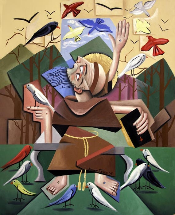 Saint Francis Of Assisi, Sermon To The Birds Print  Poster Anthony Falbo