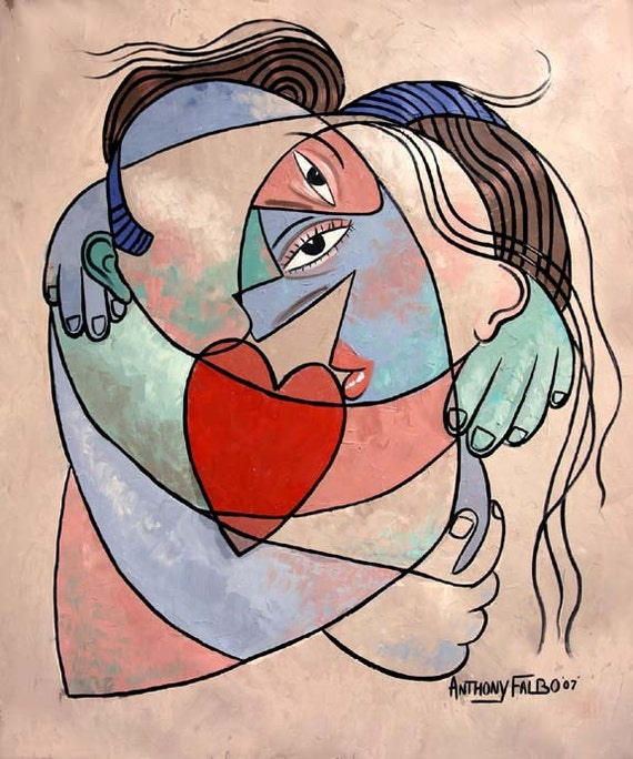 True Love When Two become One Print Romance Married Coulpe Cubism Anthony Falbo