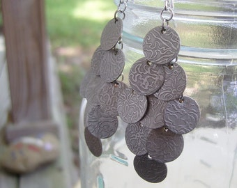 etched silver shimmer disc earrings - large - no crystals