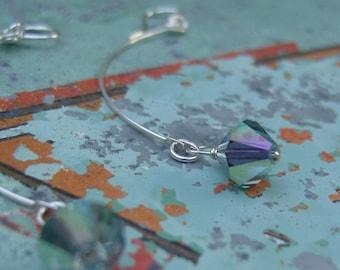 crystal dangle half hoops - light blue