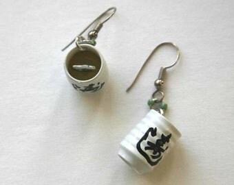 green tea earrings