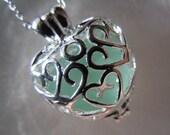 Aqua Sea Glass Heart Pendant Beach Glass Necklace  Seaglass Jewelry
