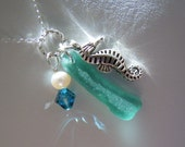 Turquoise Jewelry  Sea Glass Pendant Necklace Beach Glass Seaglass
