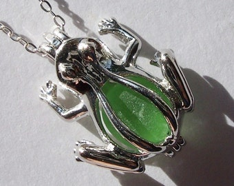 Frog Locket  Green Sea Glass  Beach Glass Necklace