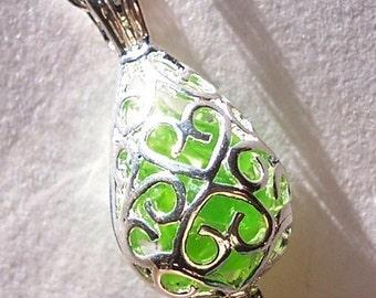 Sea Glass Necklace Green Locket  Beach Glass Jewelry Teardrop Seaglass Necklace