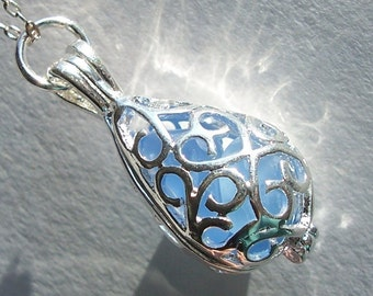 Beach Glass Memories Locket Sea Glass Pendant Necklace Jewelry,  Blue  Necklace - Filigree Teardrop Locket - Beach Glass Jewelry