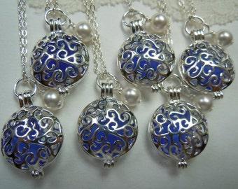 Cobalt Blue Wedding Blue Sea Glass Bridesmaid Lockets Set of 6 -  Sea Glass Necklaces Beach Glass Lockets