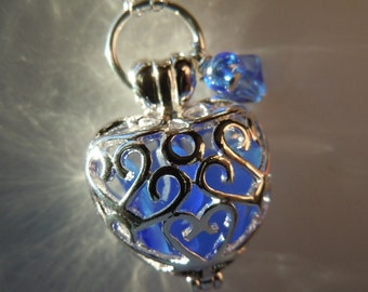 Sea Glass  Heart Locket Blue Beach Glass Necklace Seaglass Necklace