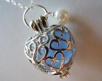 Sea Glass Necklace Heart Locket -  Blue Beach Glass Jewelry