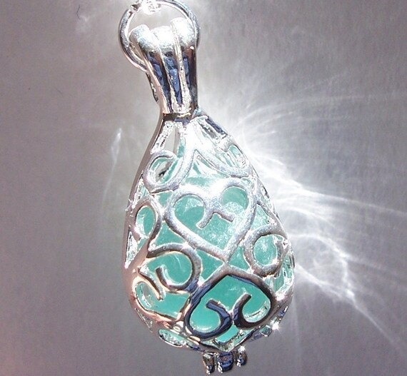 Sea Glass Necklace Beach Glass Jewelry, Aqua Seaglass Locket Teardrop Locket