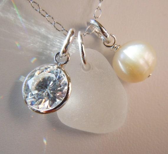 White Christmas Sea Glass Necklace