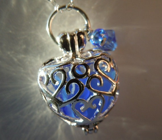 Sea Glass  Heart Locket Blue Beach Glass Necklace Seaglass Necklace