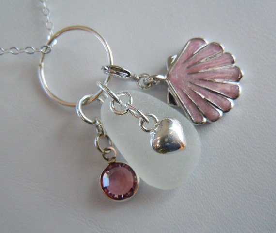 Pink and White Seaglass Necklace
