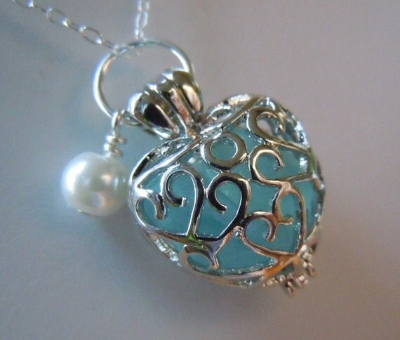 Heart Locket with Aqua  Beach Glass - Sea Glass  Jewelry Beach Glass Necklace