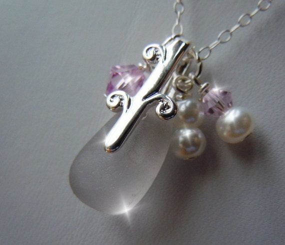 Sparkly Lavender Sea Glass  and Pearl Necklace