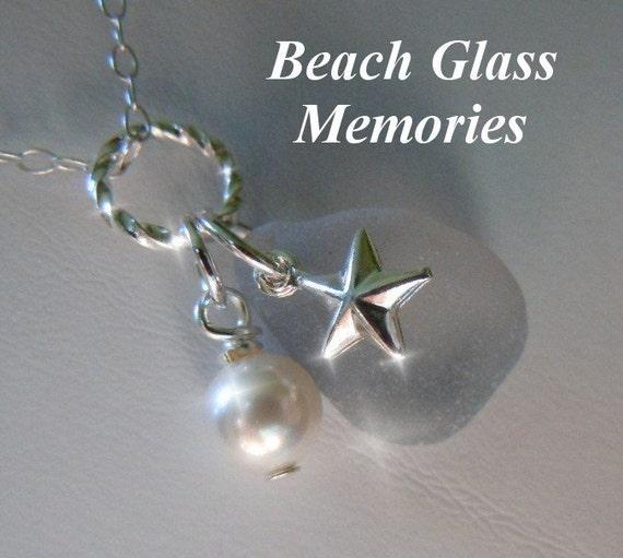 Gray Sea Glass Necklace - Grey  Beach Glass Necklace -  Seaglass Jewelry