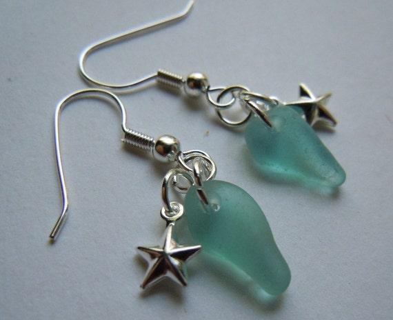 Turquoise Sea Glass Earrings - Seaglass Earrings - Beach Glass