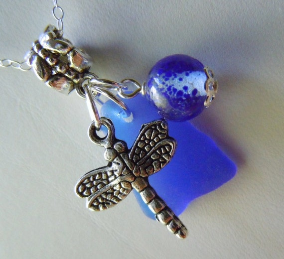 Cobalt Blue Sea Glass and Dragonfly Necklace
