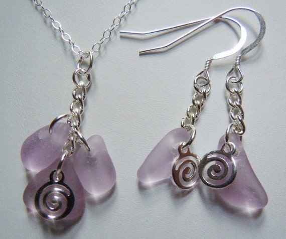 Lavender Sea Glass Necklace Earring Set -Lavender Beach Glass Necklace and Earring Set