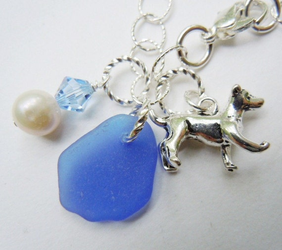 Dog Beach Glass Sterling Bracelet Blue Sea Glass