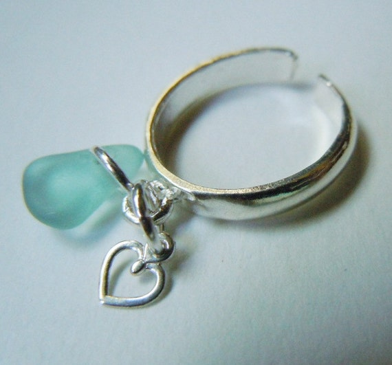 Seaglass Toe Ring Sterling Silver Adjustable Ring Sea Glass Beach GlassToe Ring