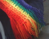 crocheted rainbow scarf - Made to Order