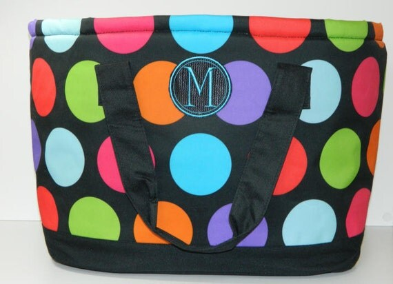 Personalized Polka Dot Cooler Tote - Perfect for the Beach, Pool, Picnics, Games
