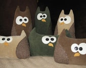 """Upcycled 14"""" Brown Corduroy Owl Pillow"""