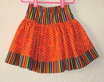 Twirly Orange Spiders and Stripes Skirt,  sizes 12M, 18M 2T, 3,4, 5, 6