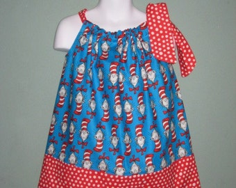 Blue Cat in the Hat Custom Pillowcase Dress, Sizes 3M to 7 Years