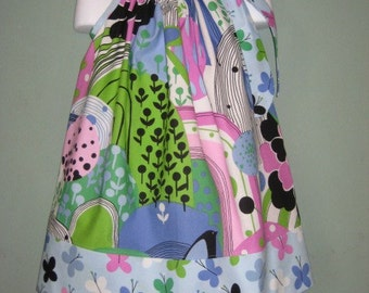 Griffith Park Pillowcase Dress, Blue floral and butterfly dress  Custom sizes available, SIZE 4, RTS