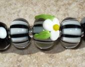 Black and White Handmade LAMPWORK Beads