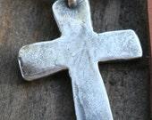 Cross Pendant Artisan Large Rustic Cross Sterling Silver