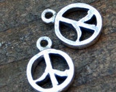 TWO Sterling Silver Peace Signs 002/CH80