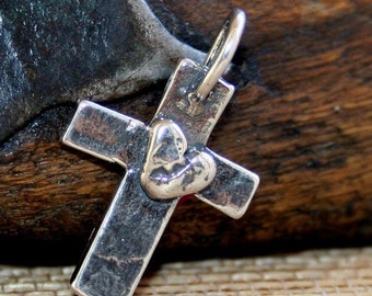 Cross Charm with Heart Artisan Sterling Silver CH112