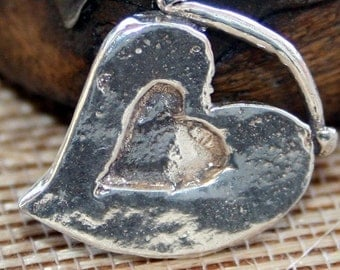Heart Charm Large Artisan Handcrafted Sterling Silver CH101