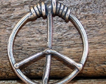 Peace Sign Pendant or Charm Sterling Silver