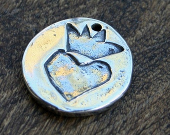 Charm Heart with Crown Sterling Silver Round PENDANT /CH333