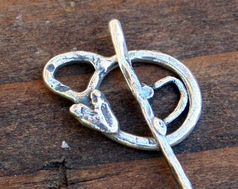 Toggle Heart thin Sterling Silver Artisan T71