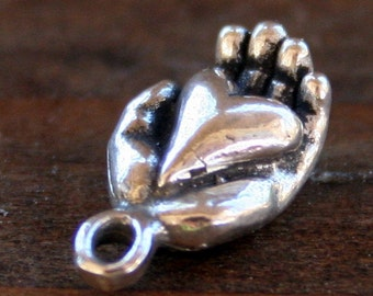 Sterling Silver Heart in Hand Charm /CH122