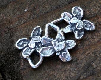 THREE Handmade Sterling Silver Flowers 003/CH13