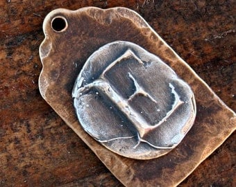 initial Brass and Sterlng Letter Tag /CH100