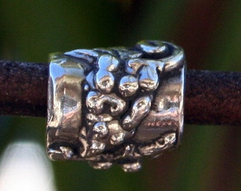 Sterling Silver Artisian Handcrafted Grapevine Slider Bead Sterling