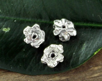 FOUR Artisan made Sterling silver Flower Beadcaps 003/BC112