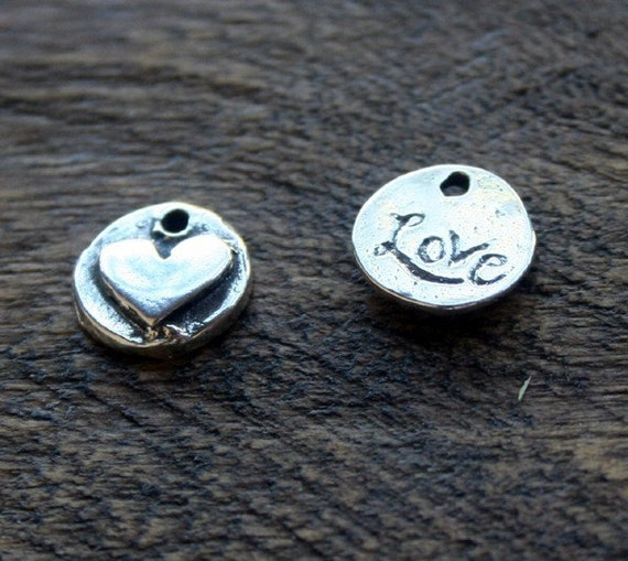 Heart Love Charm TWO Organic Sterling Silver  002/CHW60