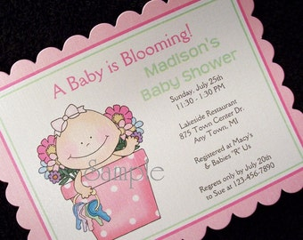 Personalized Baby Shower Invitations, baby girl in flower pot, set of 10